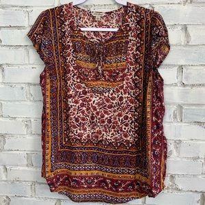 Lucky Brand | Boho Bandana Print Top | Size L